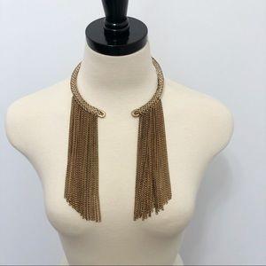 Gold Toned Fringe Open Front Necklace